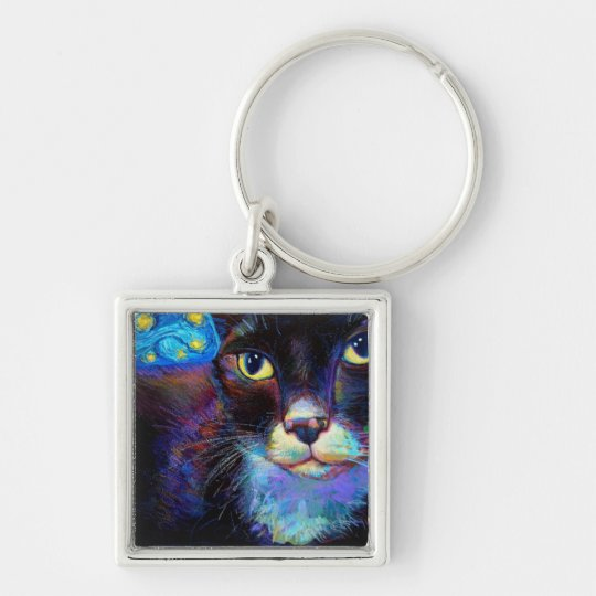 Starry Night Cat Keychain