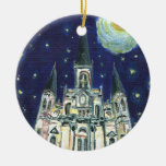Starry Night Cathedral Double-Sided Ceramic Round Christmas Ornament