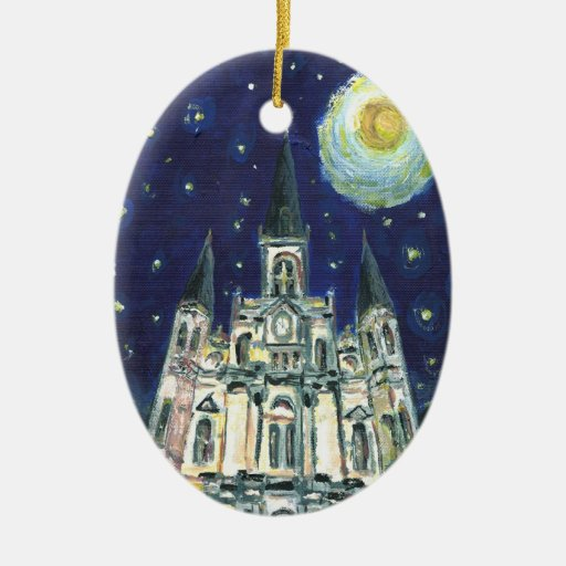 Starry Night Cathedral Double-Sided Oval Ceramic Christmas Ornament
