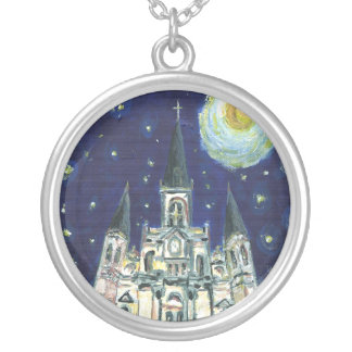 Starry Night Cathedral Silver Plated Necklace