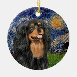 Starry Night - Cavalier (black / Tan) Ceramic Ornament