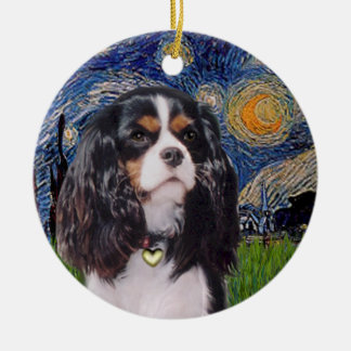 Starry Night - Cavalier (tri color) Ceramic Ornament