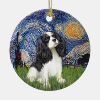 Starry Night - Cavalier (tri color) Double-Sided Ceramic Round Christmas Ornament