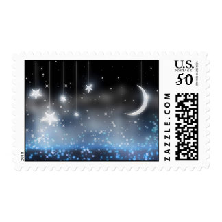 Starry Night Celestial Postage Stamps