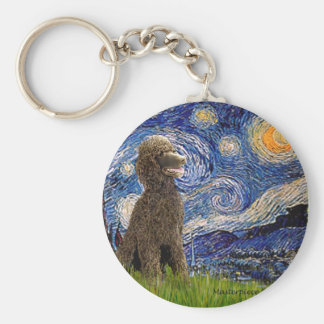 Starry Night - Chocolate St. Poodle Keychain