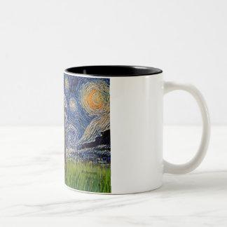 Starry Night - Chocolate St. Poodle Two-Tone Coffee Mug