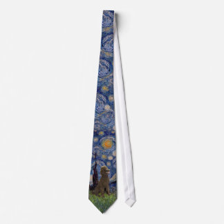 Starry Night - Chocolate Standard Poodle Tie