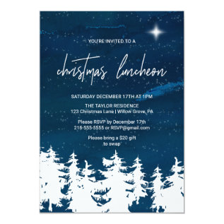 Starry Night Christmas Luncheon Card at Zazzle