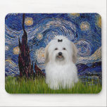 """Starry Night - Coton de Tulear 2 Mouse Pad<br><div class=""""desc"""">Starry Night by Vincent Van Gogh,  now adapted to include a Coton de Tulear.</div>"""