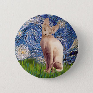 Starry Night - Cream Sphynx Cat Button