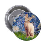 Starry Night - Cream Sphynx Cat Button