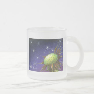 Starry night dandelion frosted glass coffee mug