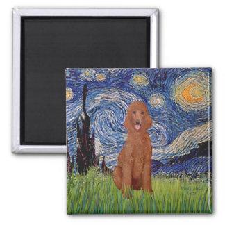 Starry Night - Dark Red Standard Poodle #1 Magnet