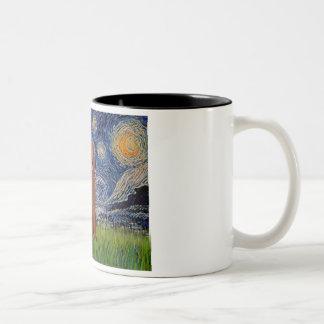 Starry Night - Dark Red Standard Poodle #1 Two-Tone Coffee Mug