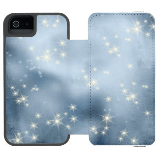 Starry Night Deep Blue White Galaxy Space iPhone SE/5/5s Wallet Case