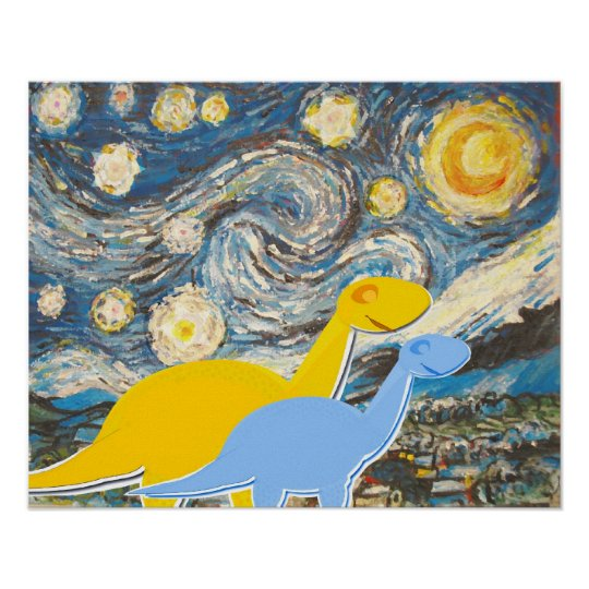 Starry Night Dinosaurs Poster Print