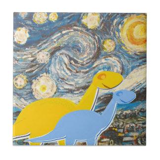 Starry Night Dinosaurs Tile