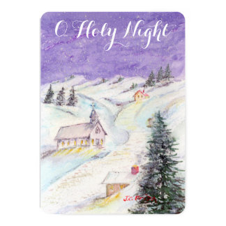 Starry Night Draped in Snow Christmas Church Party Card