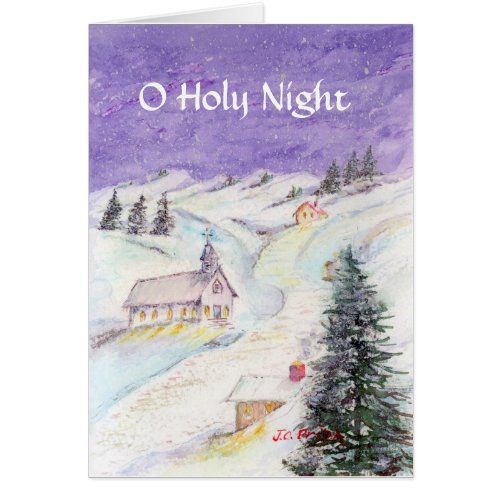 Starry Night Draped in Snow Christmas Watercolor Card