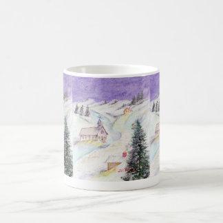 Starry Night Draped in Snow Christmas Watercolor Classic White Coffee Mug