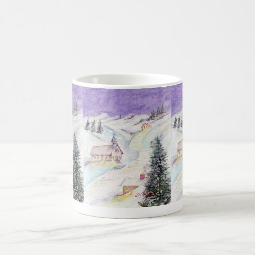 Starry Night Draped in Snow Christmas Watercolor Coffee Mug