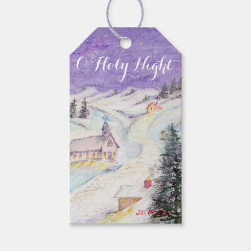 Starry Night Draped in Snow Christmas Watercolor Gift Tags