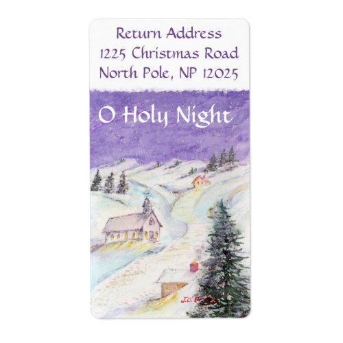 Starry Night Draped in Snow Christmas Watercolor Label