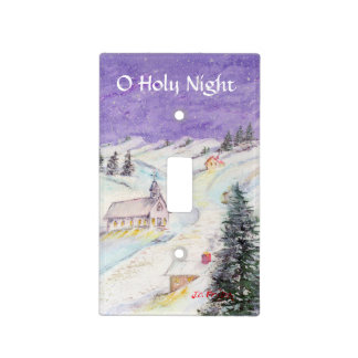 Starry Night Draped in Snow Christmas Watercolor Light Switch Cover