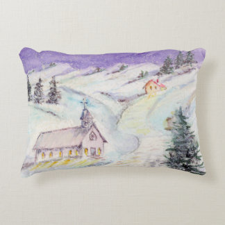 Starry Night Draped in Snow Christmas Watercolor Accent Pillow