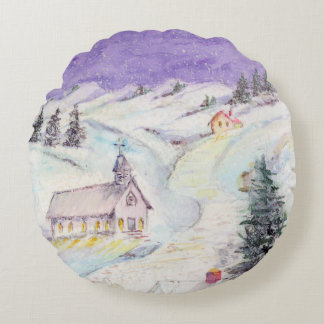 Starry Night Draped in Snow Christmas Watercolor Round Pillow
