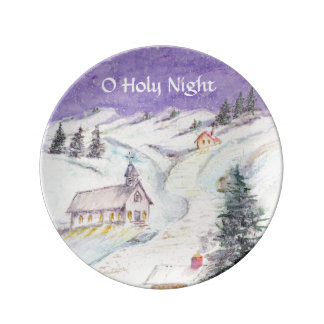 Starry Night Draped in Snow Christmas Watercolor Porcelain Plate