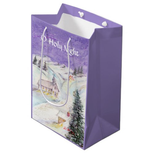 Starry Night Draped in Snow Christmas Watercolor Medium Gift Bag