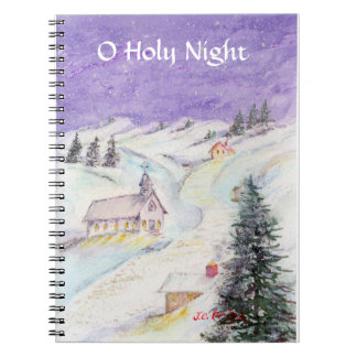 Starry Night Draped in Snow Christmas Watercolor Notebook