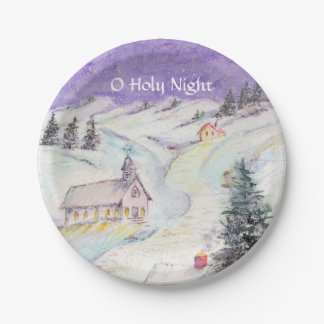 Starry Night Draped in Snow Christmas Watercolor Paper Plate