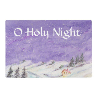 Starry Night Draped in Snow Christmas Watercolor Placemat