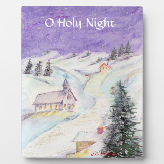 Starry Night Draped in Snow Christmas Watercolor Display Plaques