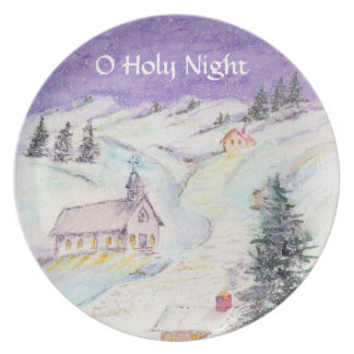 Starry Night Draped in Snow Christmas Watercolor Dinner Plates