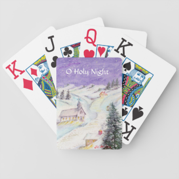 Starry Night Draped in Snow Christmas Watercolor Bicycle Playing Cards