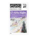 Starry Night Draped in Snow Christmas Watercolor Postage