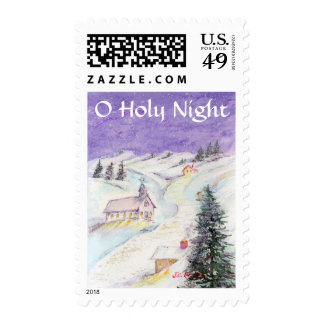 Starry Night Draped in Snow Christmas Watercolor Postage Stamps