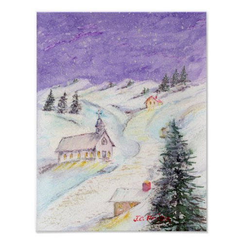 Starry Night Draped in Snow Christmas Watercolor Poster