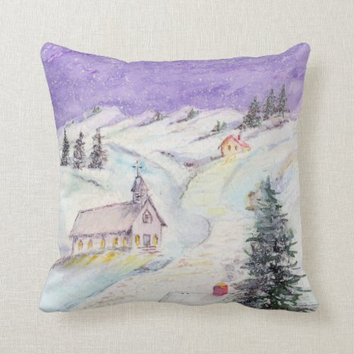 Starry Night Draped in Snow Christmas Watercolor Throw Pillow