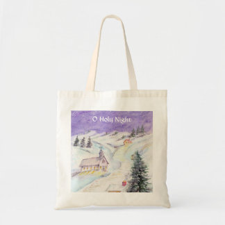 Starry Night Draped in Snow Christmas Watercolor Tote Bag