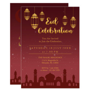 Muslim holiday cards greeting photo cards zazzle starry night eid mubarak party invitation stopboris Image collections