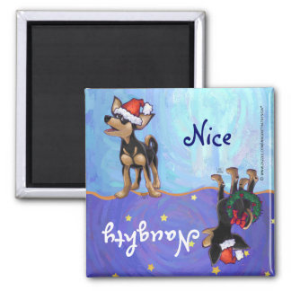 Starry Night Festive Chihuhua in Santa Hat Magnet
