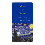Starry Night fine art wedding wine labels Custom Shipping Labels