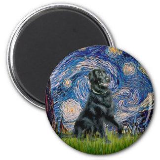 Starry Night - Flat Coated Retriever 2 Refrigerator Magnet