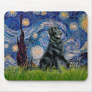 Starry Night - Flat Coated Retriever 2 Mouse Pad