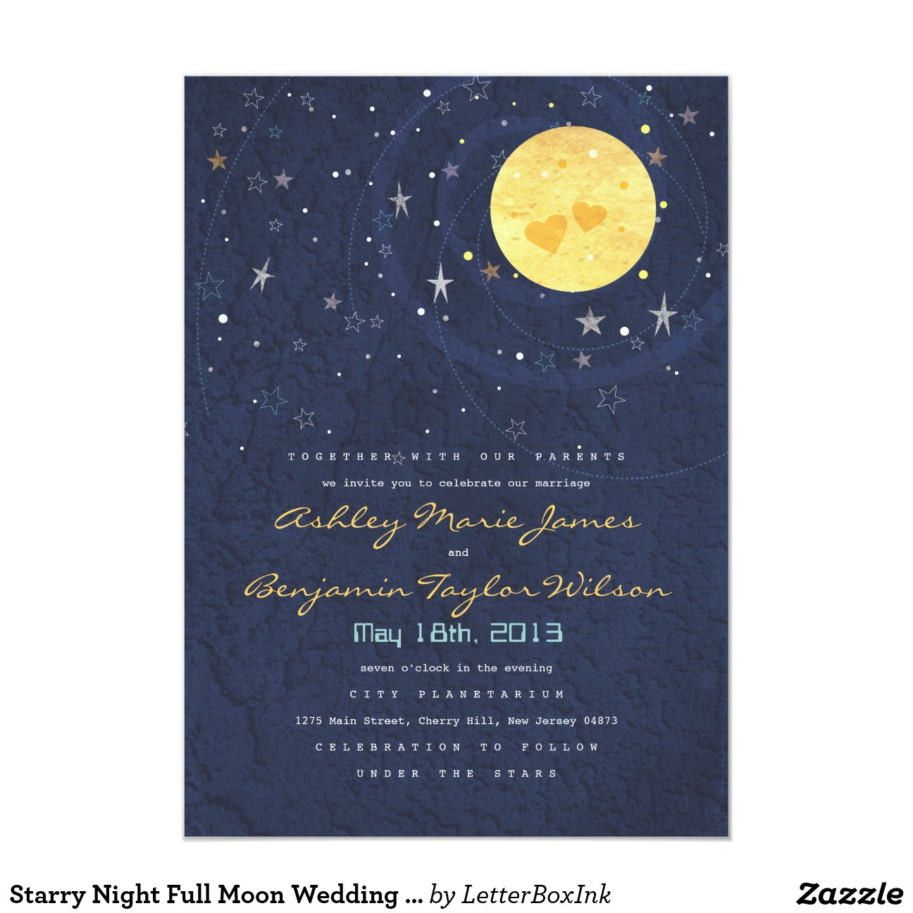 Starry Night Full Moon Wedding Invitation 5 Quot X 7