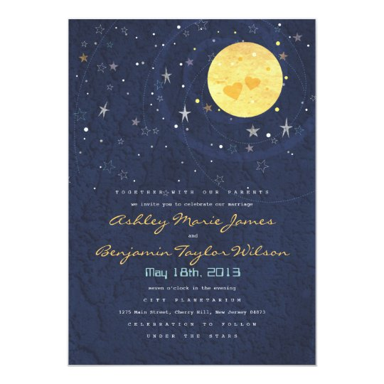 Starry Night Full Moon Wedding Invitation Zazzle Com